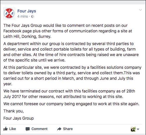 FourJays statement edited